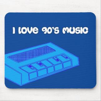 Blue MouseMat I Love 90's Music Mousepad Design