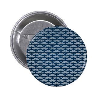 blue moustache pattern 2 inch round button