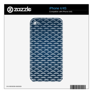 blue moustache pattern skins for iPhone 4