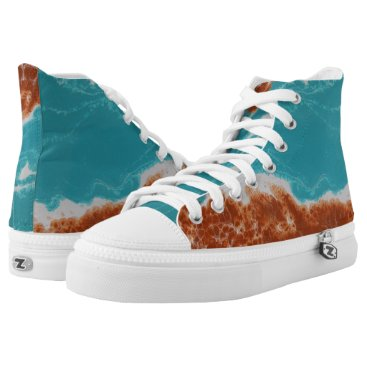 Beach Themed Blue Moves High-Top Sneakers