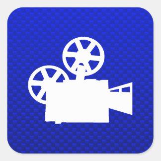 Blue Movie Camera Square Sticker