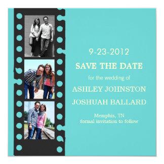 "Blue Movie Film Strip Save The Date Invites 5.25"" Square Invitation Card"