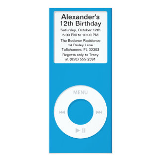 """Blue MP3 Player iParty Birthday Party 4"""" X 9.25"""" Invitation Card"""