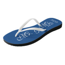 Blue Mr and Mrs wedding flip flops for newly weds