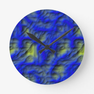 Blue Mud Round Clock