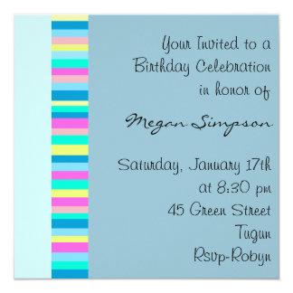 Blue Multi Color stripe Birthday Invitation