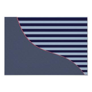Blue multi tone striped blank invitation