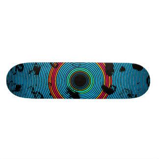Blue Multicolor Vinyl Disc Texture Pattern Skateboard