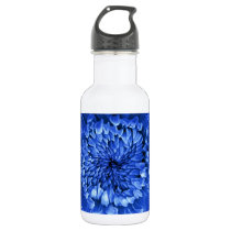 Blue Mums Purple-Pink Patterned by Sharles Water Bottle