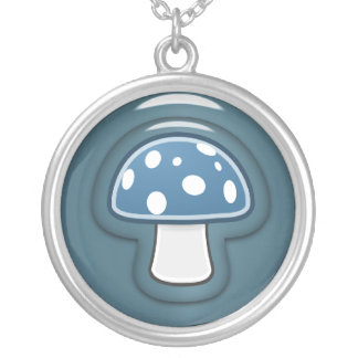 Blue Mushroom Silver Plated Necklace