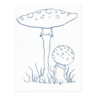 Blue Mushrooms Post Card