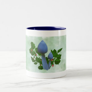 Blue Mushrooms with Red Flowers Drinkware Two-Tone Coffee Mug