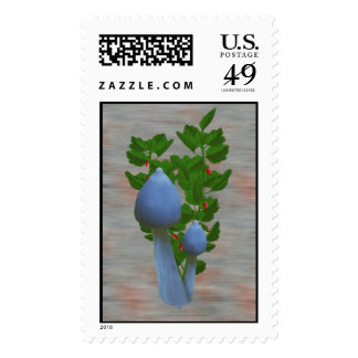 Blue Mushrooms with Red Flowers Stamps