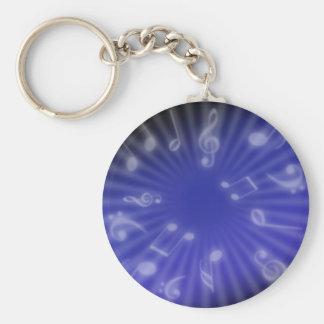 Blue Music Basic Round Button Keychain