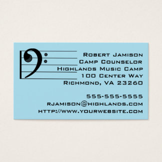 Blue Music Camp Counselor Bass Clef Business Card