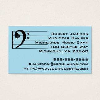 Blue Music Camper Bass Clef Business Card