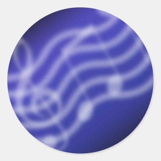 Blue Music Classic Round Sticker