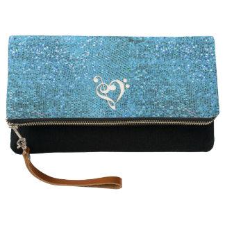 Blue Music Clef Heart Clutch Purse Bag