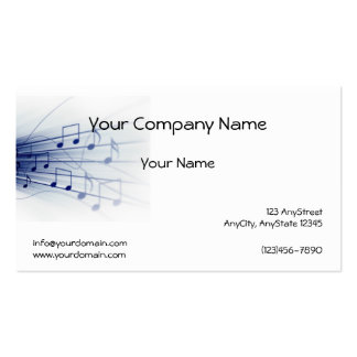 Blue Music Explosion on White Background Double-Sided Standard Business Cards (Pack Of 100)