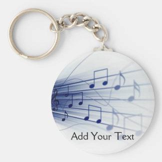 Blue Music Explosion on White Basic Round Button Keychain