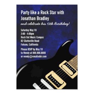 Blue Music Guitar Rock Star Birthday Card