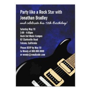 Rock star invitations zazzle blue music guitar rock star birthday invitation stopboris Choice Image