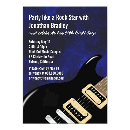Blue Music Guitar Rock Star Birthday Invitation