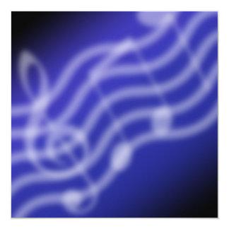 Blue Music 5.25x5.25 Square Paper Invitation Card