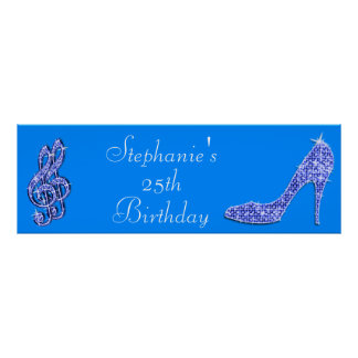 Blue Music Note and Stiletto 25th Birthday Poster
