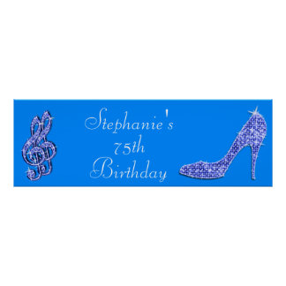 Blue Music Note and Stiletto 75th Birthday Poster