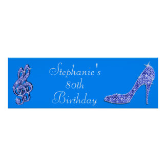 Blue Music Note and Stiletto 80th Birthday Poster