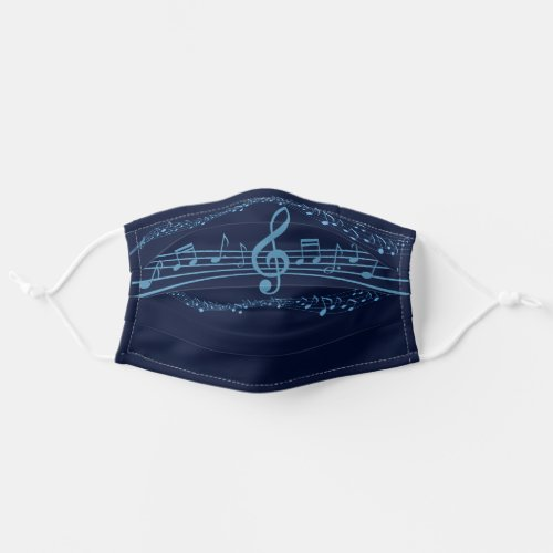 Blue Music Notes Adult Cloth Face Mask