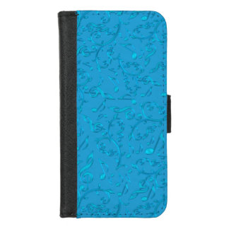 Blue Music Notes Pattern iPhone 6 Wallet Case