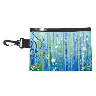 Blue Music Pattern Clip On Accessory Bag