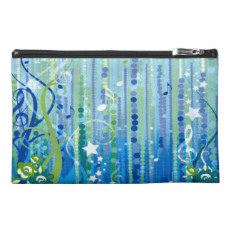 Blue Music Pattern Travel Accessory Bag