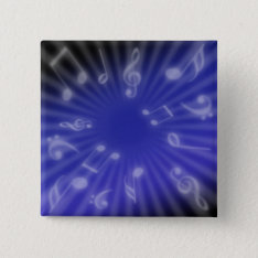 Blue Music Pinback Button at Zazzle