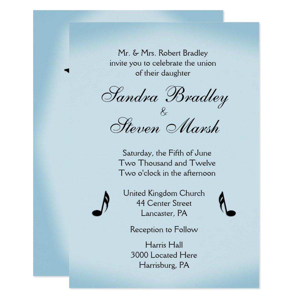 Blue Music Theme Wedding Card