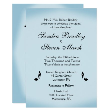 Blue Music Theme Wedding Card