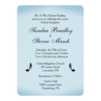 Blue Music Wedding Card