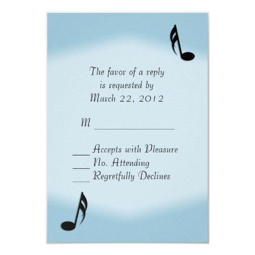 Blue Music Wedding RSVP Card