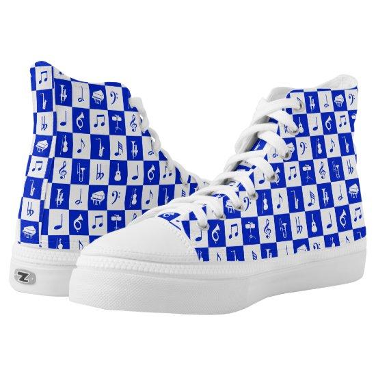 Blue musical notes designer footwear