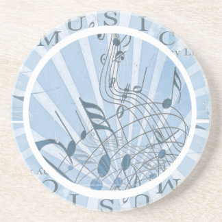 Blue Musical Notes Sandstone Coaster
