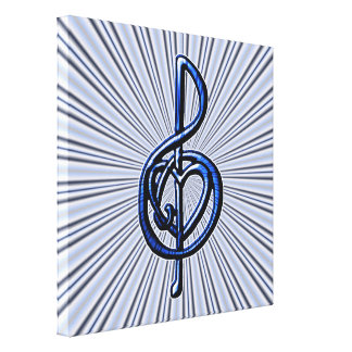 Blue Musical Treble Clef Heart Personalizable Art Canvas Print