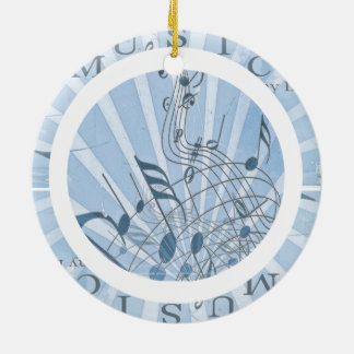 Blue Musical Words and Notes Double-Sided Ceramic Round Christmas Ornament