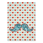 BLUE MUSTACHE AND RED HEARTS GLITTER ANNOUNCEMENT