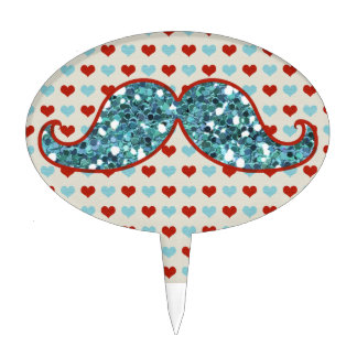 BLUE MUSTACHE AND RED HEARTS GLITTER CAKE PICKS
