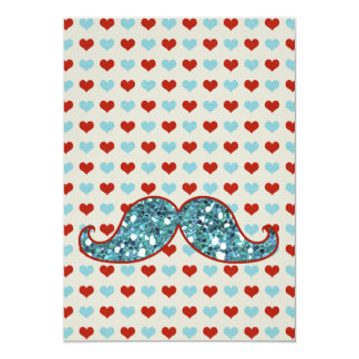 BLUE MUSTACHE AND RED HEARTS GLITTER CARD