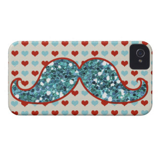 BLUE MUSTACHE AND RED HEARTS GLITTER Case-Mate iPhone 4 CASE
