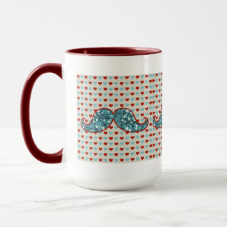 BLUE MUSTACHE AND RED HEARTS GLITTER MUG