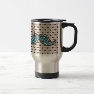 BLUE MUSTACHE AND RED HEARTS GLITTER TRAVEL MUG